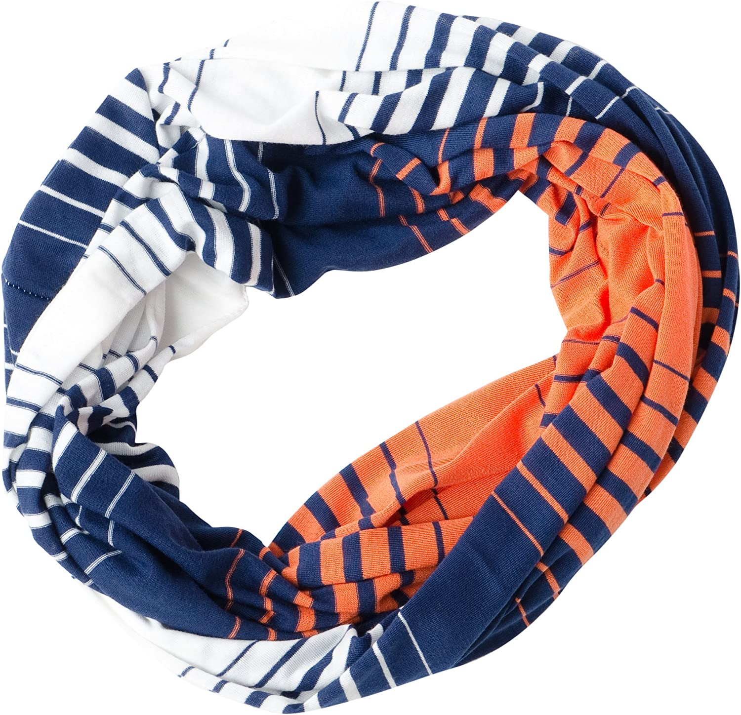 Navy//Orange One Size DII Tickled Pink Womens Striped Game Day T-Shirt Infintiy Scarf