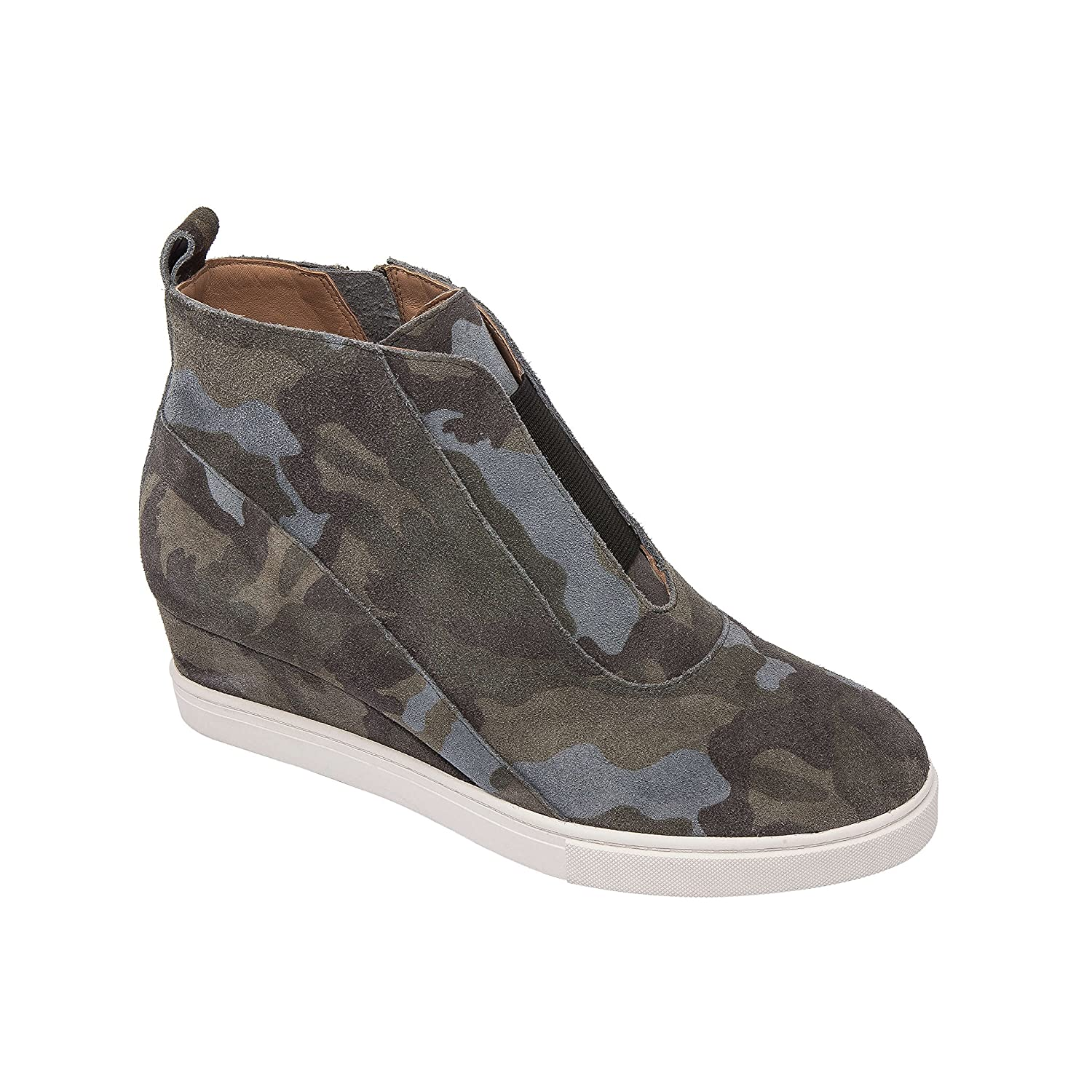 Linea Paolo Anna | Low Heel Designer Platform Wedge Sneaker Bootie Comfortable Fashion Ankle Boot (New Fall) B07F6W1N49 6 M US|Dark Green/Light Grey Split Suede