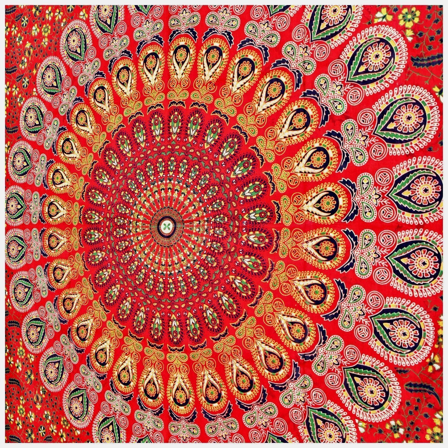 Indian hippie Tapestry Bohemian Psychedelic Peacock Mandala Tapestry Wall hanging Bedding Tapestry Red Tapestry