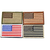 American Flag Velcro Tactical Patches Four Pack - Show Your American Pride on Hats, Backpacks and Uniforms