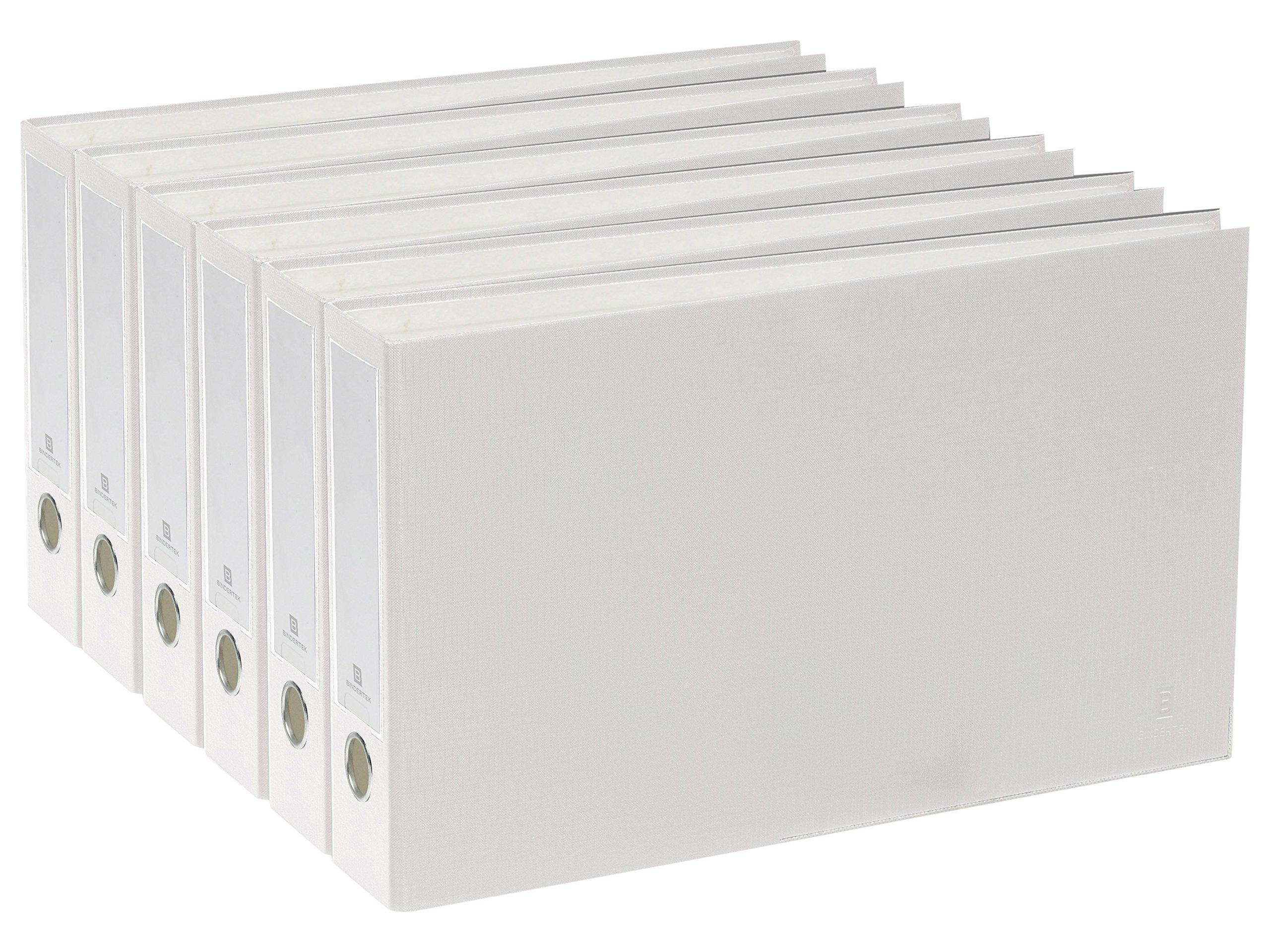 Bindertek 3-Ring 2-Inch Premium Ledger Binder 6-Pack, For 11 x 17 Paper, White