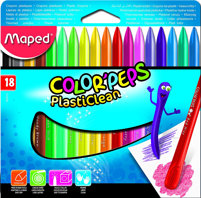 Maped M862012 18 St/ück im Etui Wachs-Kunststoff-Stifte Color Peps Plasticlean