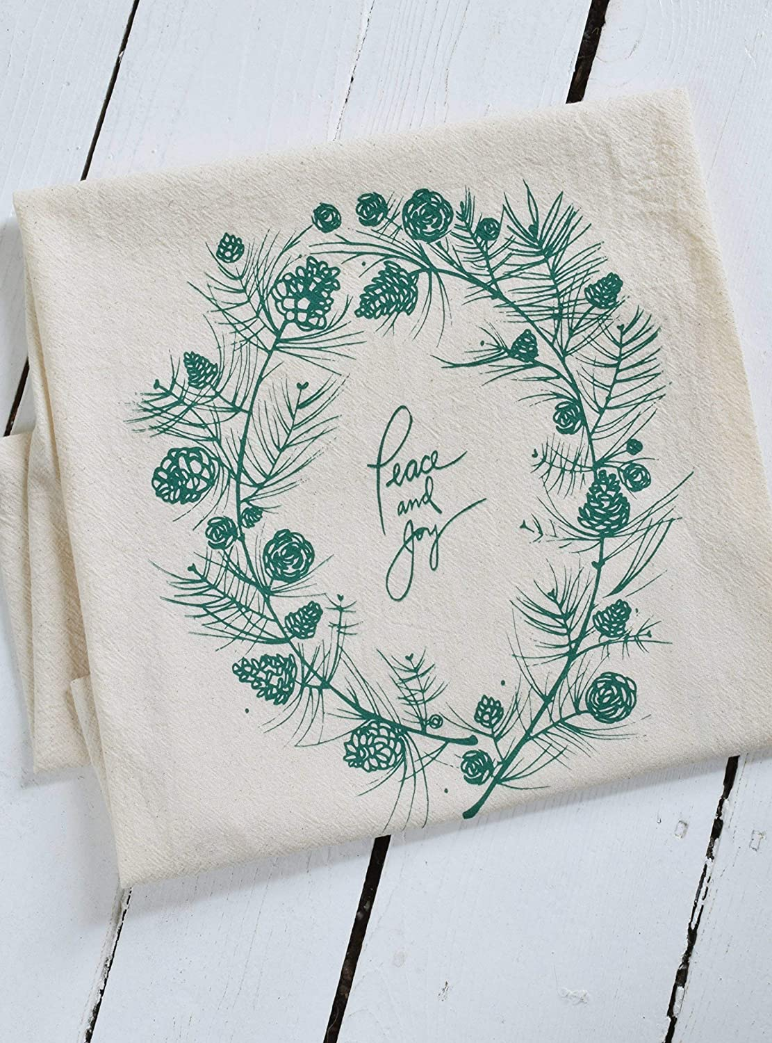 Christmas Tea Towel - Peace and Joy - Organic Cotton - Green - Holiday Wreath