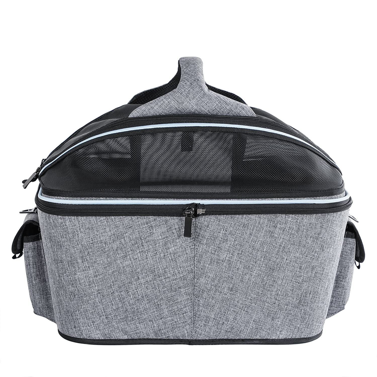 Foldable Cat Carrier Plus Fabric Cat Basket with Mesh Dome Top for Small Pet Up to 20 Pounds Large 51cm x 43cm x 41cm Petsfit Mobile Soft-sided Cat Carrier Cat Bed Carrier