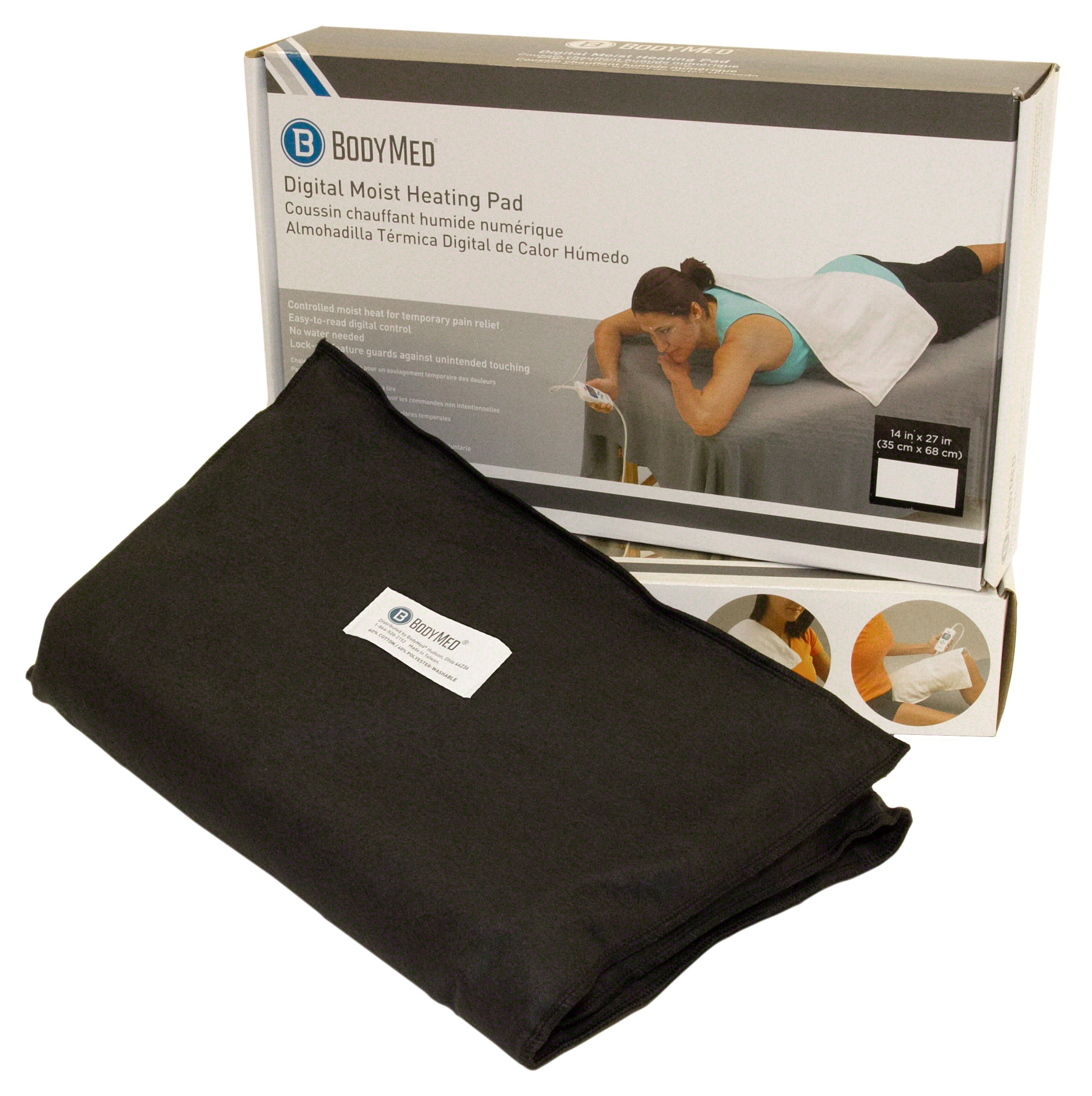 Amazon.com: BodyMed Black Digital Electric Moist Heating Pad Delivers Therapeutic Warmth at Source of Pain 14 inch x 27 inch - Black: Health & Personal Care