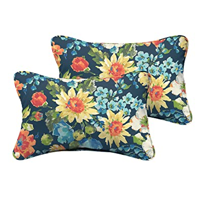 "Mozaic AMPS115735 Multi Floral Indoor/Outdoor Lumbar Pillows (Set of 2) -Corded, 12"" H x 18"" W, Blue : Garden & Outdoor"