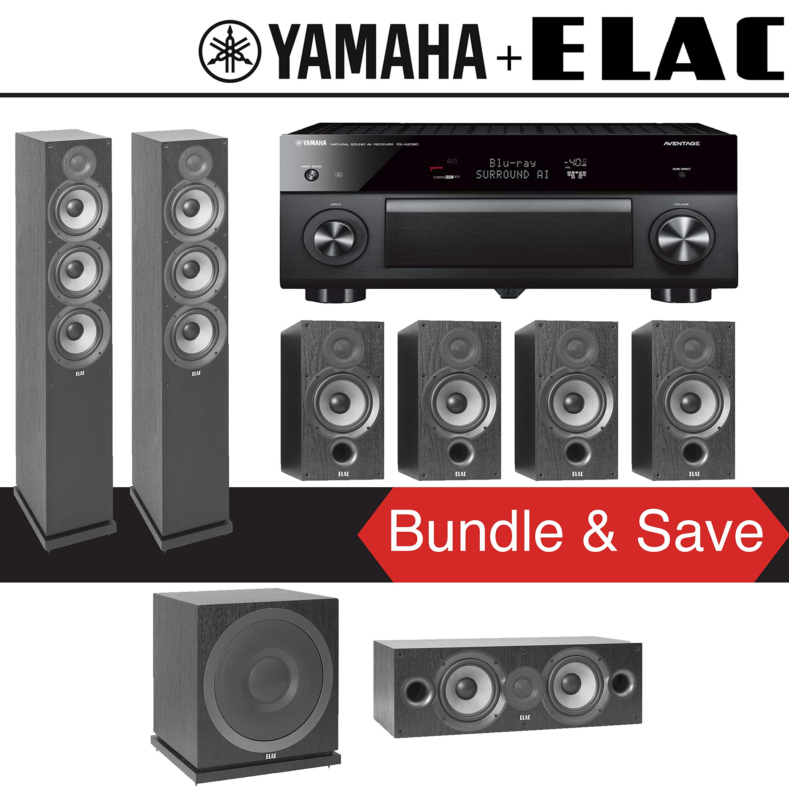 Elac F6.2 Debut 2.0 7.1-Ch Home Theater Speaker System with Yamaha AVENTAGE RX-A2080 9.2-Channel 4K Network AV Receiver