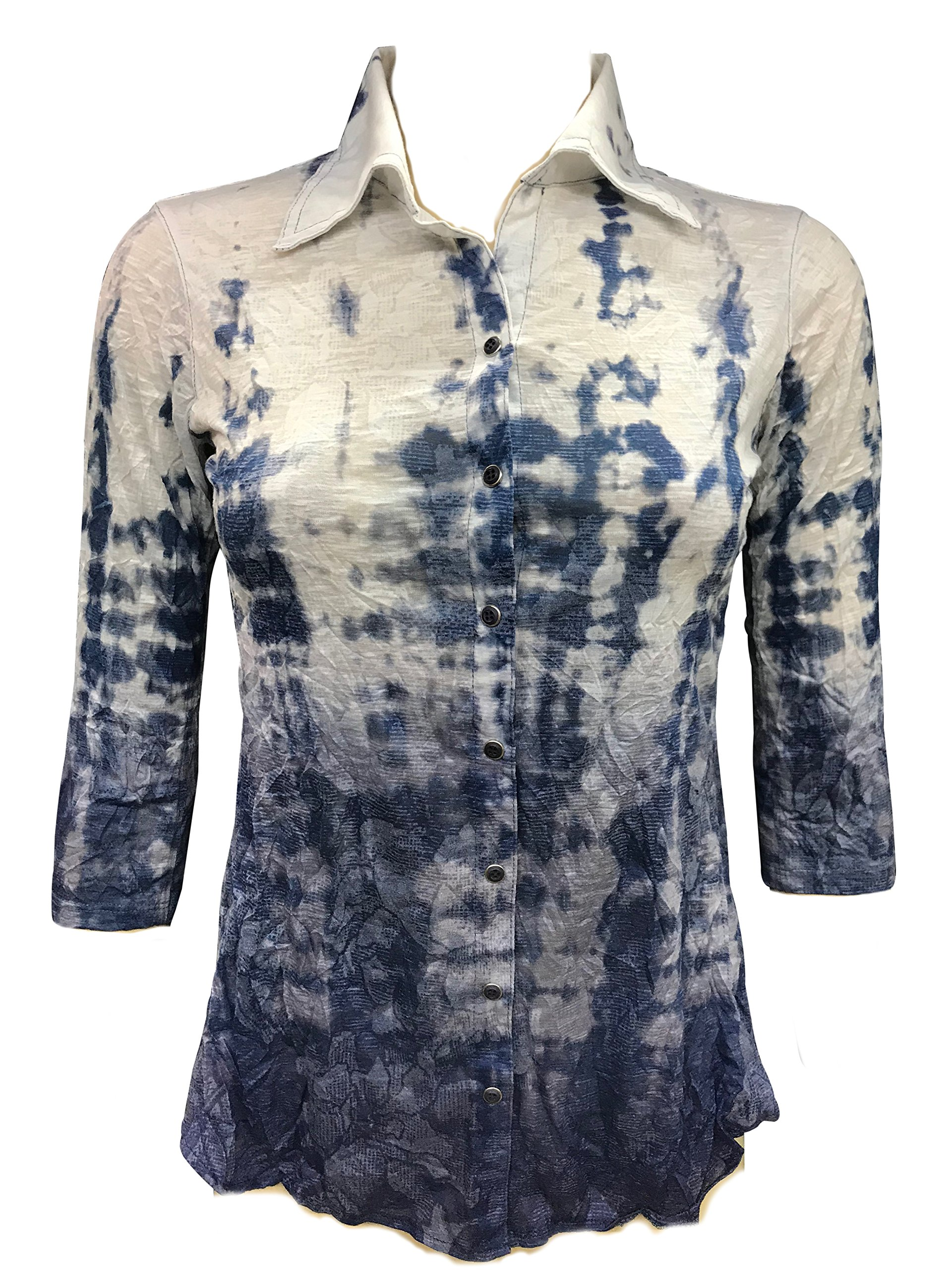 David Cline Woman's Button Down Crushed 3/4 Sleeve Shirt. Super Soft Comfortable Fabric. Water Design.
