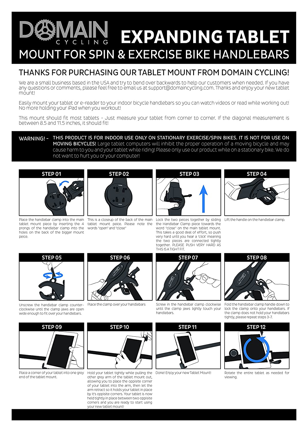 Expanding Tablet Mount For Exercise Bike Or Spin