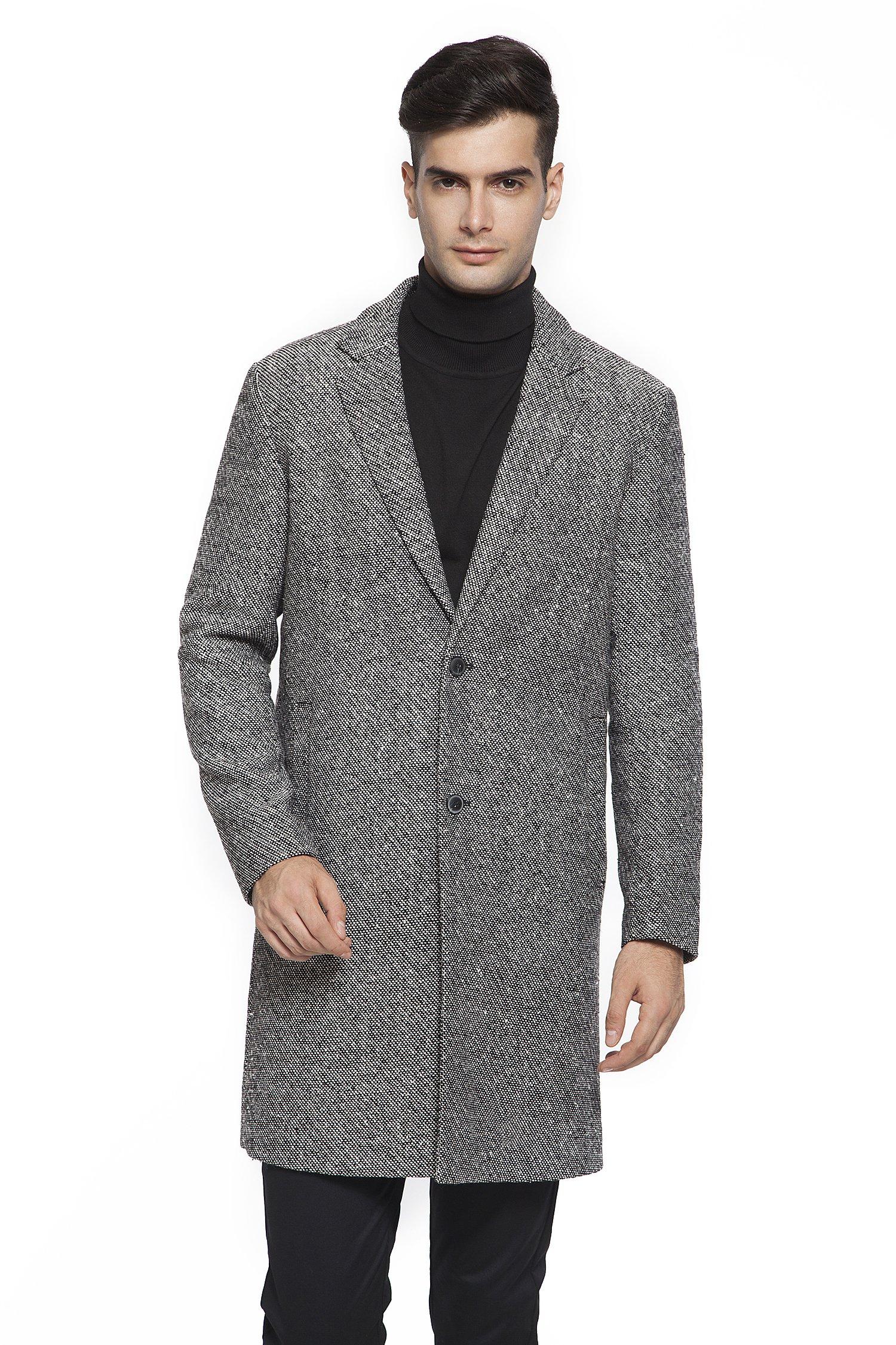 RLM Men's Single Breasted Woolen Trench Coat Overcoat Long Jacket (40, Black-White)