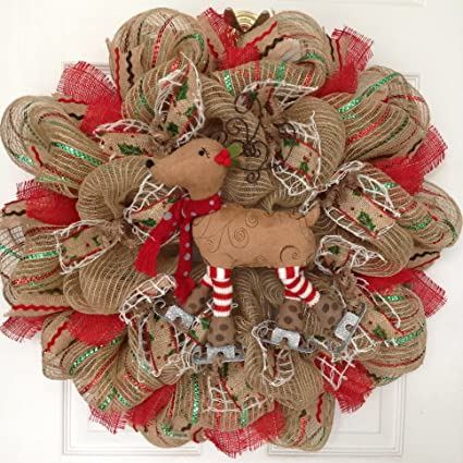 what a mesh by diana raz skating reindeer handmade limited edition deco mesh winter holiday wreath