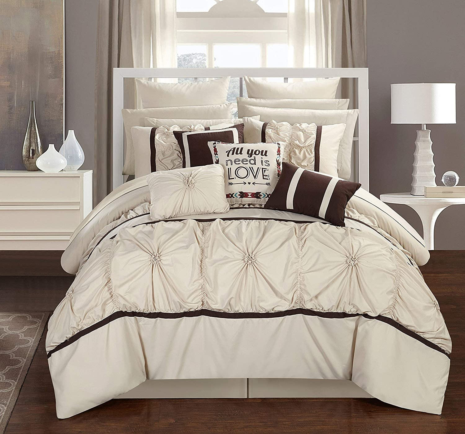 Chic Home Ashville 16 Piece Bed in a Bag Comforter Set, Queen, Off-White