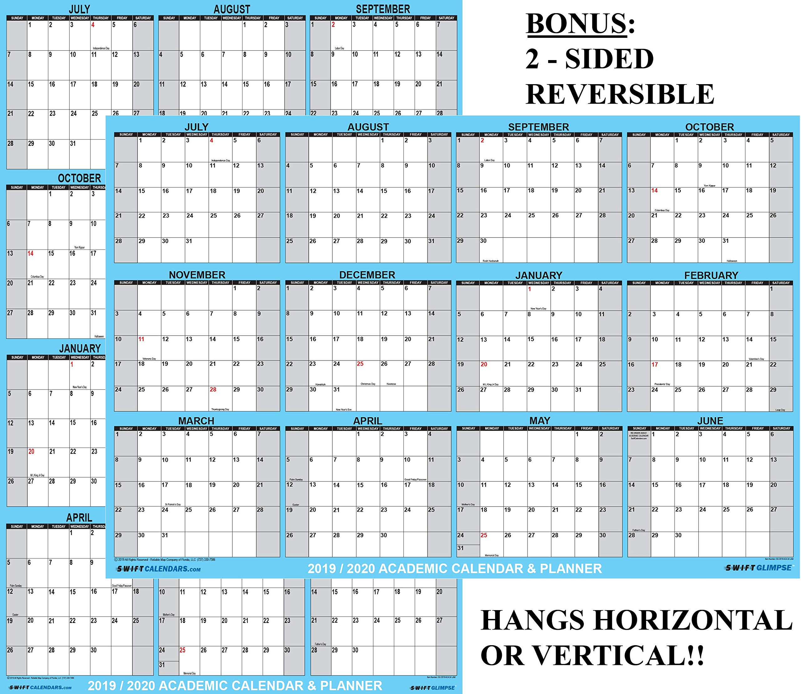 24x36 SwiftGlimpse 2019-2020 Academic Wall Calendar Erasable Large Jumbo Oversized Wet & Dry Erase Laminated 12 Month Planner, 2 Sided Vertical/Horizontal Reversible, June to July - Classic Blue by SwiftGlimpse