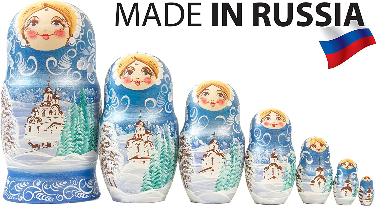Traditional Matryoshka Babushka 7 Dolls in 1 Hand Painted in Russia Russian Nesting Doll Moscow Kremlin Gift Box , Purple Winter`s Tale 8`` Wooden Decoration Gift Doll