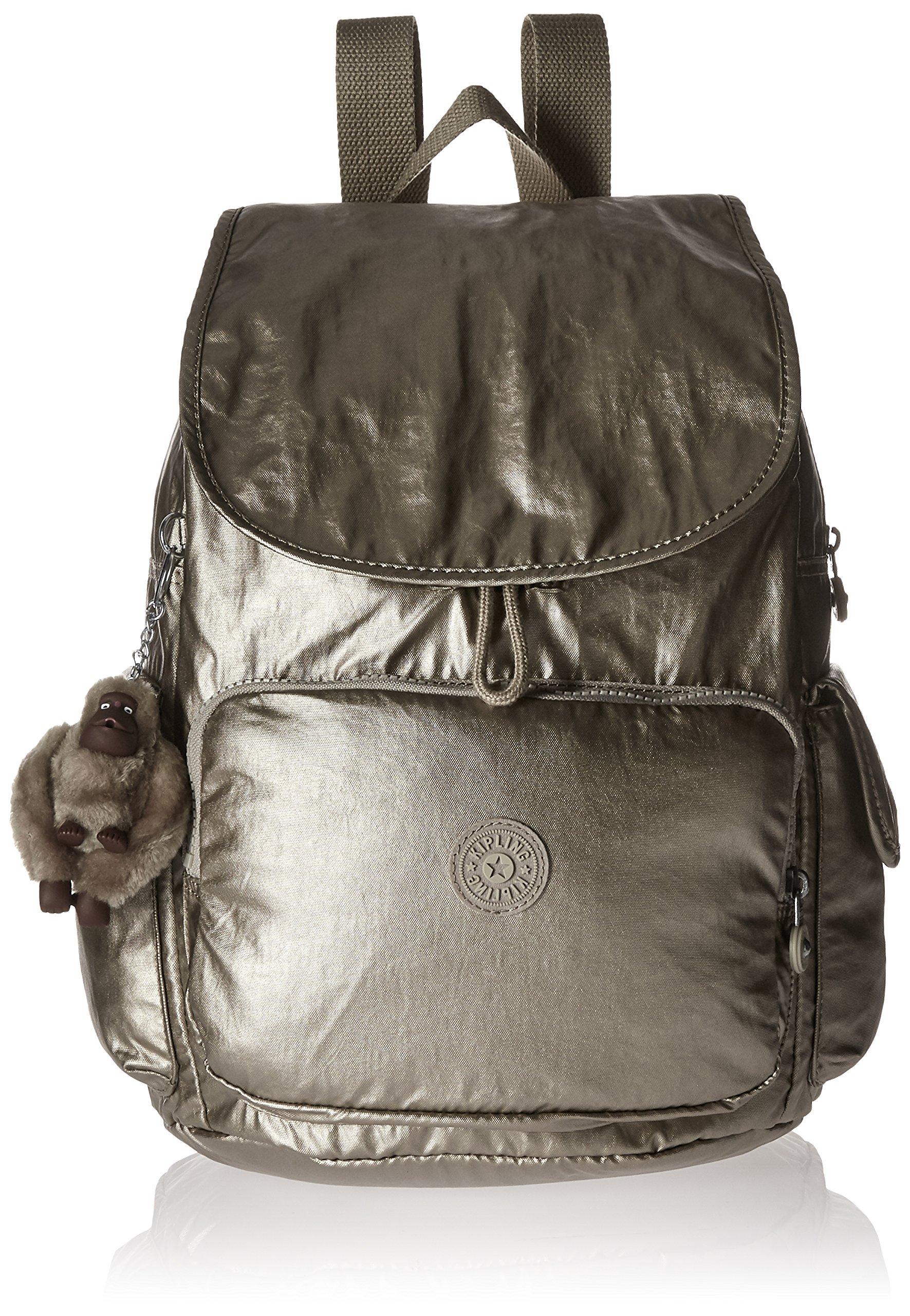 Kipling Women's Ravier Medium Solid Backpack, Champagne Metallic