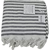 InfuseZen Black and White Striped Turkish Terry Towel for the Bath, Pool or Spa, Oversized Beach Towel, Oversized Peshtemal Towel, Thin Terry Fouta