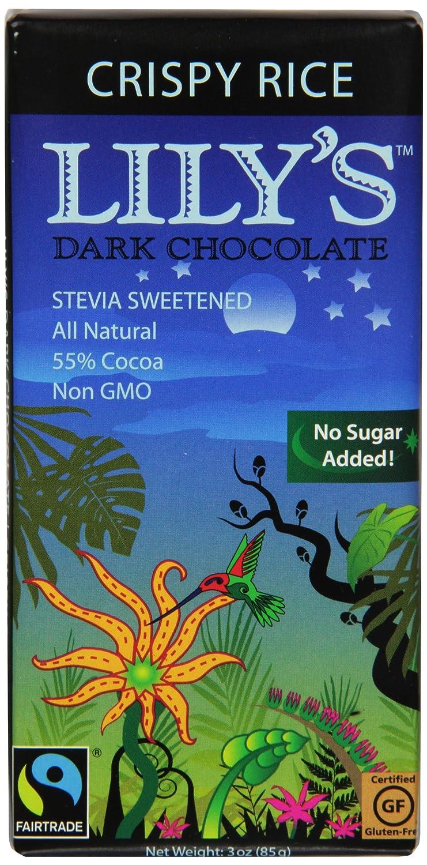 Amazon.com : Lily's Dark Chocolate Bar with Stevia, Crispy Rice, 3 ...