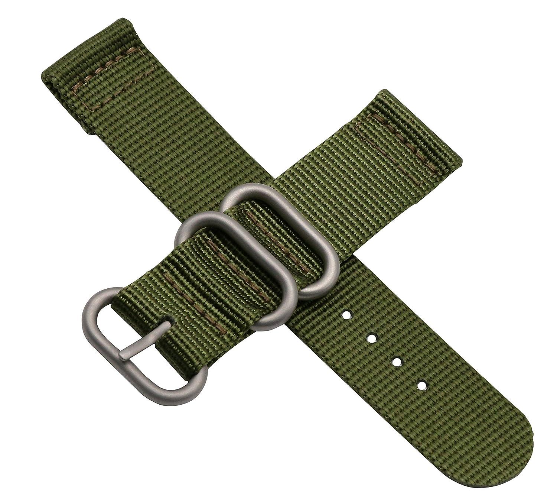 lujoso nylon pulseras para relojes bandas de estilo de la NATO 24mm  reemplazos para los hombres del ejército verde militar duradera  Amazon.es   Relojes db4fadade2b3