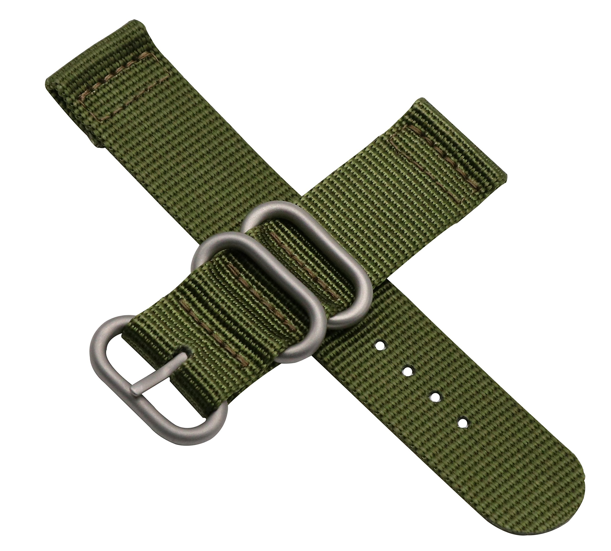 18mm Army Green High-end Nato style Ballistic Nylon Canvas Watch Band Strap Replacement for Men Braided