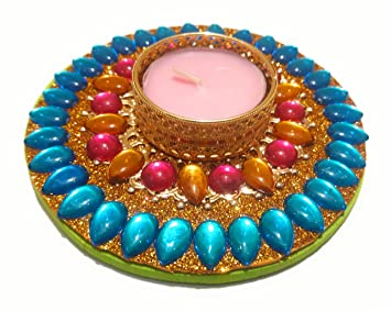 ade350ffc Buy Floating Tealight Candle Holder   Floating Diya   Kundan Decorated Floating  Rangoli for Diwali and Festivals - Home Décor Online at Low Prices in India  ...