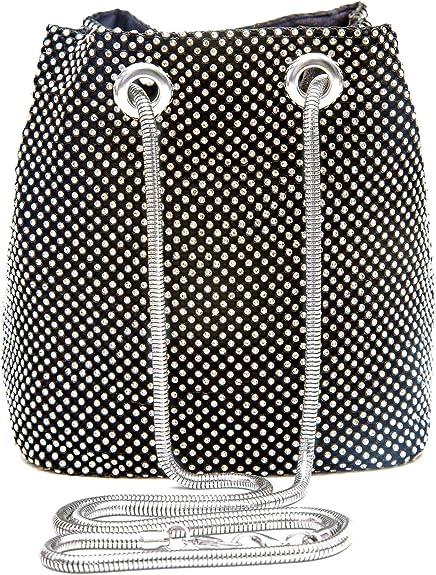 Women Evening Bag Rhinestone Bucket Bag Bling Bride Wedding Shoulder Clutch Handbag