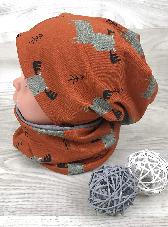Jersey Fleece Gr 44-54 Elch Rost grau kinderm/ütze Beanie und Loop Set m/ützen set junge jungenm/ütze dino