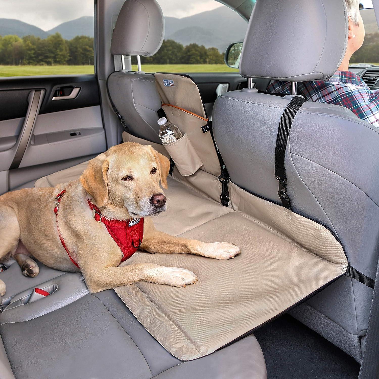 Kurgo Dog Backseat Bridge Car Extender Seat Bridge for Dogs Padded Pet Car Barrier Reversible Water Resistant Universal Fit Cup Holder Pocket Up to 100 lbs Black Hampton Sand Khaki