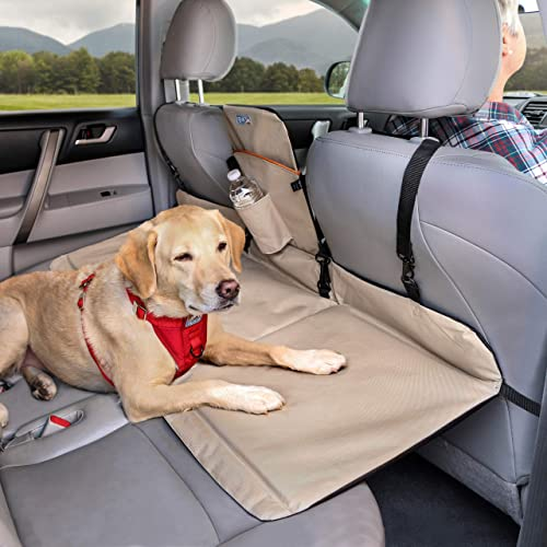 Kurgo Dog Backseat Bridge Car Extender Seat Bridge for Dogs Padded Pet Car Barrier Reversible Water Resistant Universal Fit Cup Holder Pocket Up to 100 lbs
