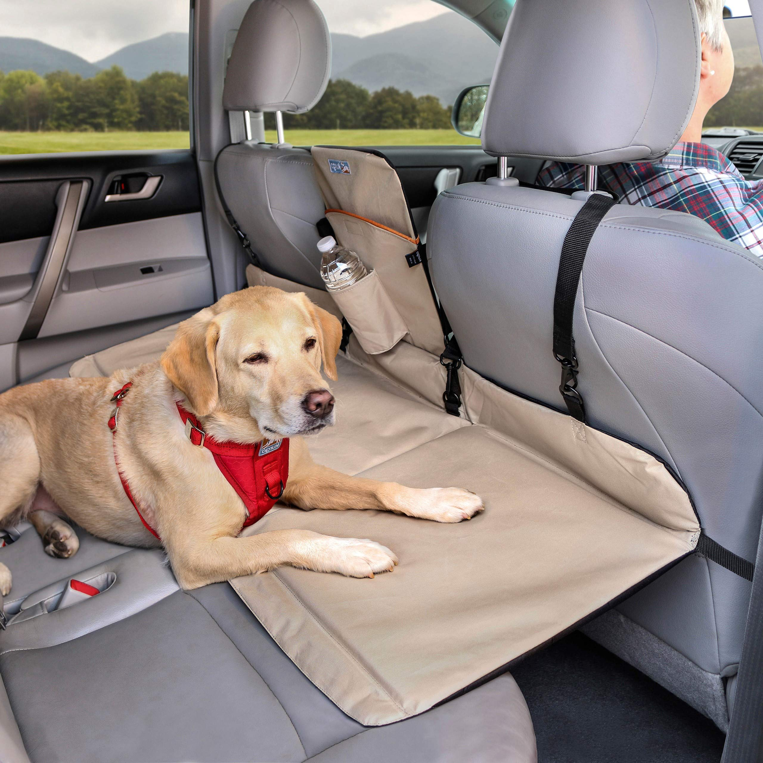 Kurgo Dog Backseat Bridge Car Extender | Seat Bridge for Dogs | Padded Pet Car Barrier | Reversible | Water Resistant | Universal Fit | Cup Holder & Pocket | Up to 100 lbs | Black / Hampton Sand Khaki by Kurgo