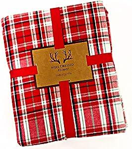 "Well Dressed Home Tartan Plaid Christmas Holiday Tablecloth | 100% Cotton | 60"" x 84"""