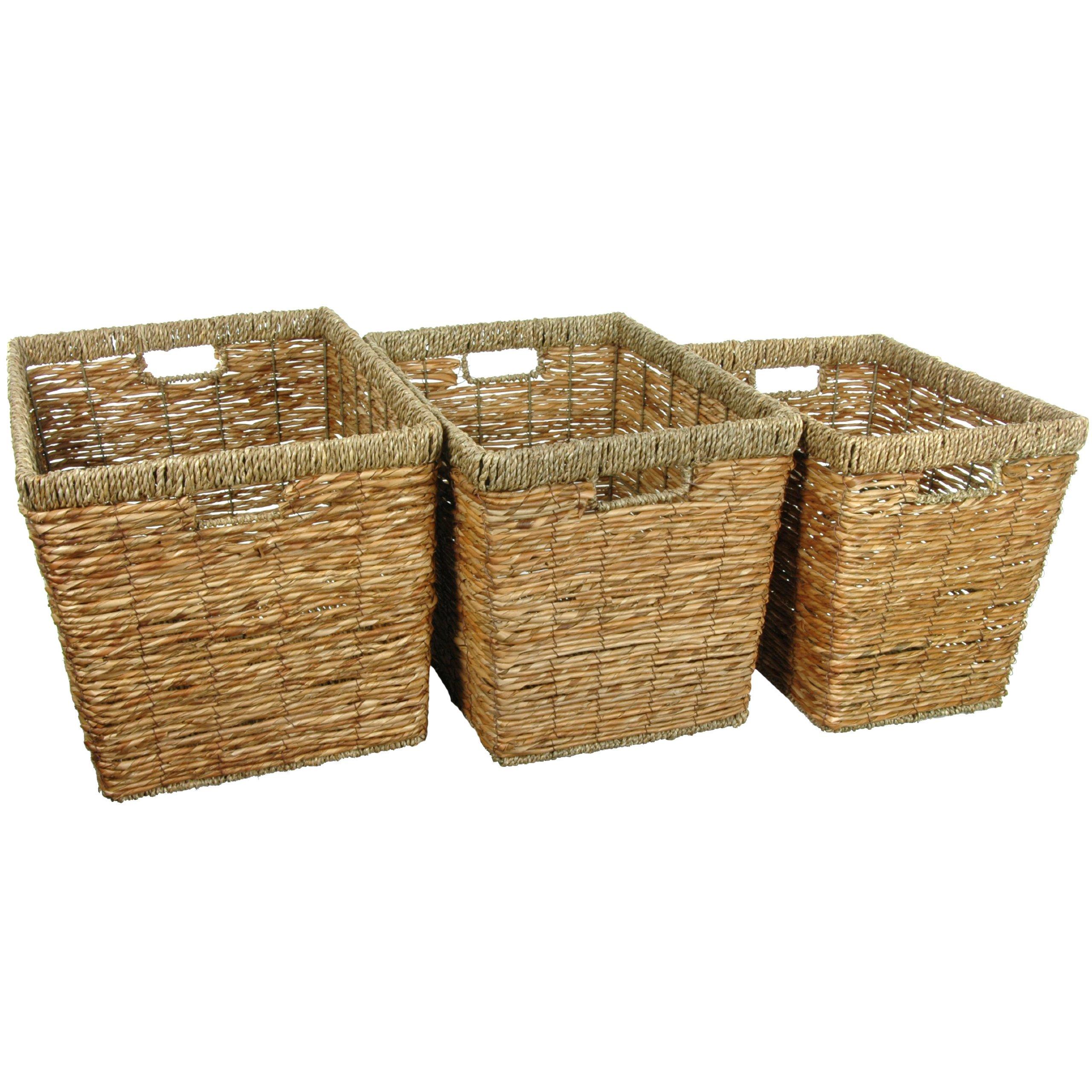 Oriental Furniture Hand Woven Natural Storage Bin ( Set of 3 )(B)