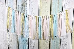 Fabric Tassel Garland Rag Tie Garland Shabby Chic Blush Banner for Wedding Decor Baby Shower Party Decor Home Decor Wall Hanging Boho Decor Birthday Banner (Pink+Gold+Blue)