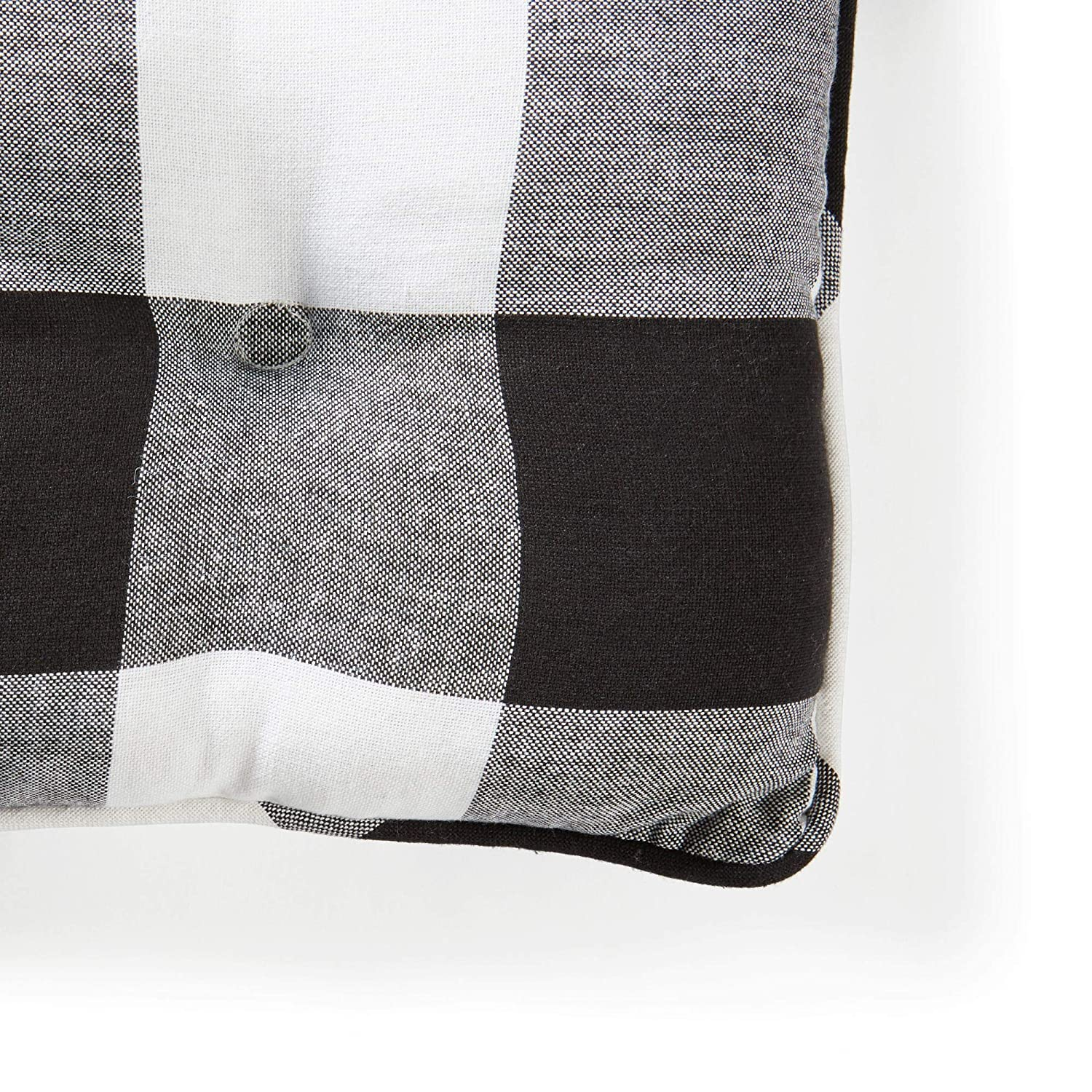 Home Collection Country Modern Farmhouse Black White Buffalo Plaid Check Set of 2 Dining Chair Cushions with Ties Chair Pads