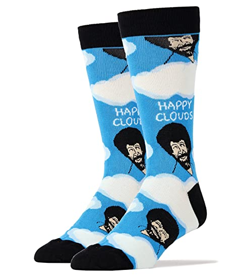 get new matching in colour differently Mens Funny Novelty Crew Bob Ross Socks Happy Clouds