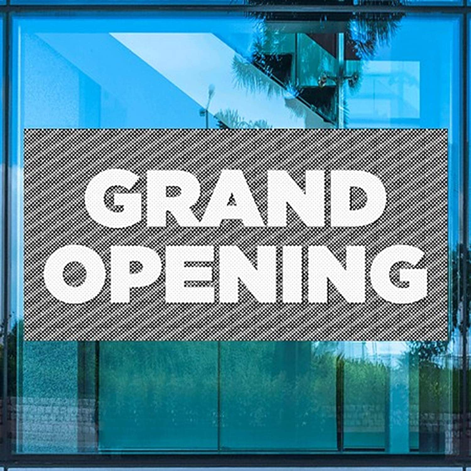 Stripes Gray Perforated Window Decal Grand Opening CGSignLab 96x48
