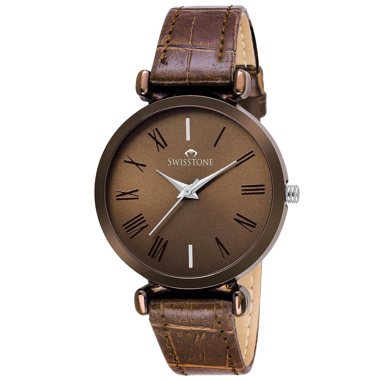 SWISSTONE Brown Leather Strap Analogue Display Women's Wrist Watch