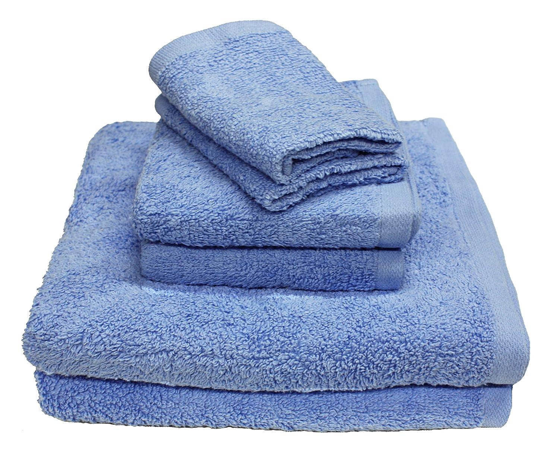 "best Luxury 6 Piece Cotton Bath Towel Set; 2 Bath Towels 27 x 52"", 2 Hand Towels 16 x 27""and 2 Washcloths 13 x 13"", Hotel & Spa Quality, Super Soft and Ultra Absorbent for Bathroom & Washroom-Ocean Blue"
