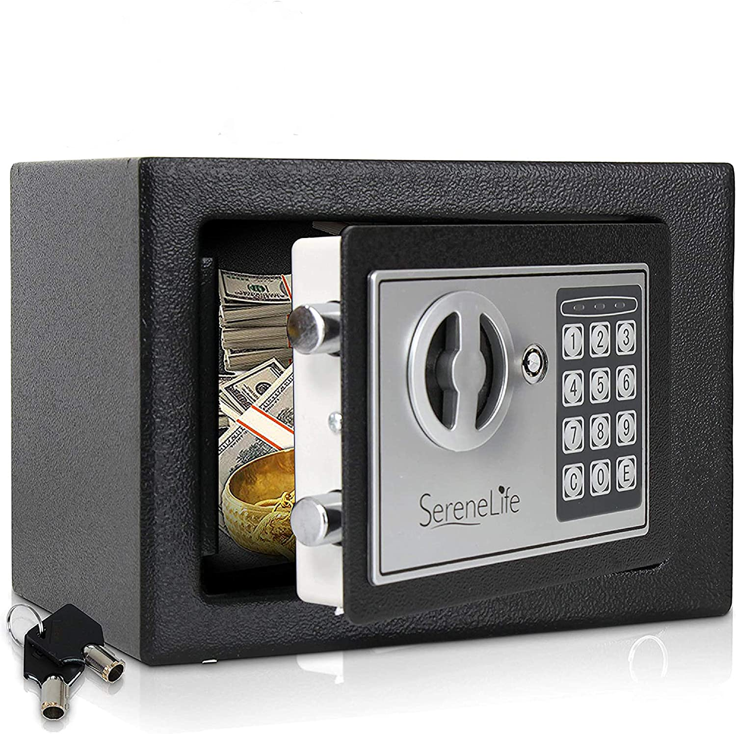 Digital Electronic Mechanical Lock Safe - Fireproof Dual Locking Security Storage Deposit Drop Box with Wall and Floor Mount Bolt, 2 Key, 4 AA Battery - File Gun Cash Jewelry - SereneLife SLSFE11