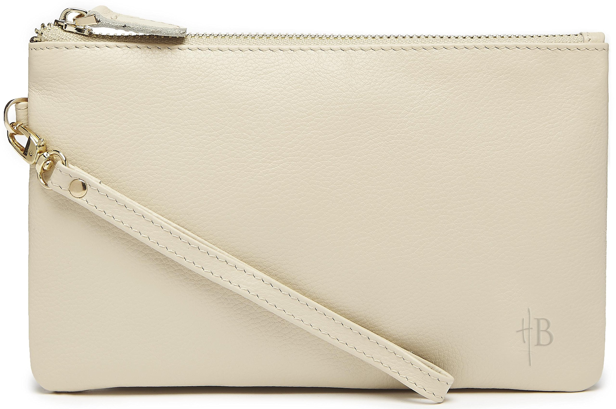MightyPurse Genuine Leather Phone Charging Wristlet Cream