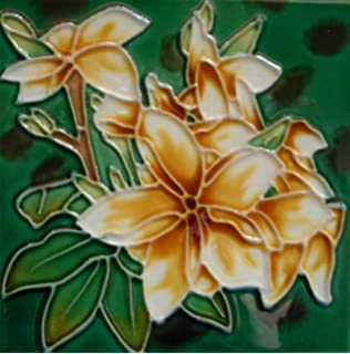Tropical flower ceramic art tile coaster with easel back 4 x 4 inches