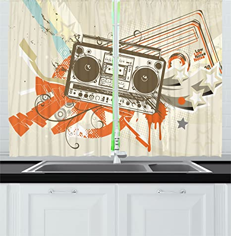 Amazon Com Ambesonne Urban Kitchen Curtains Grunge Style Urban Background In Graffiti Style With Cool Boom Box Illustration Window Drapes 2 Panel Set For Kitchen Cafe Decor 55 X 39 Beige And Orange