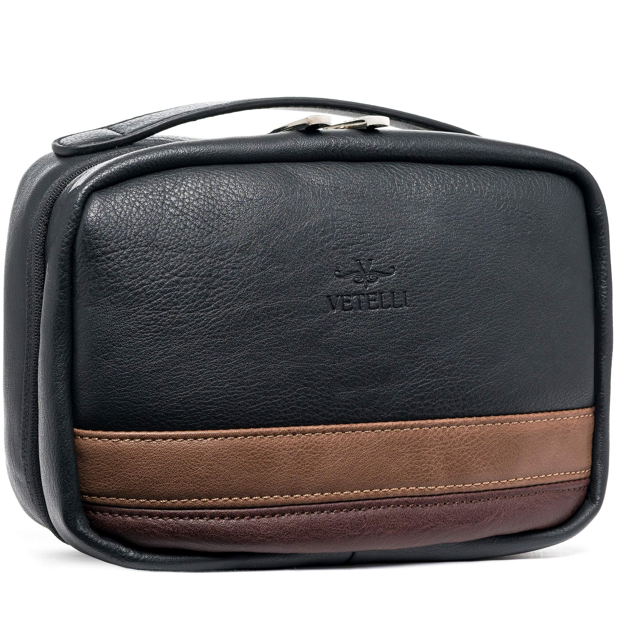 Vetelli Hanging Toiletry Bag for Men - Dopp Kit - Perfect bathroom organizer or travel kit for men - A wonderful gift for the man in your life and a perfect travel accessory. by Vetelli