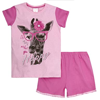 b13c62bf5f Girls Jersey Pyjamas Pug Dog Puppy 100% Cotton Summer Short T-Shirt Kids  Pajamas Pink Fuschia White Size7 8 9 10 11 12 13 Years  Amazon.co.uk   Clothing