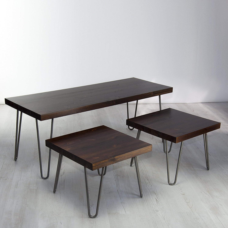 Vintage Industrial Solid Wood Coffee Table Set Three Table Nest Metal Hairpin Legs Rustic Jacobian Dark Wood Finish Amazon Co Uk Handmade