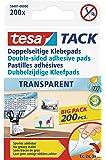 tesa doppelseitige Klebepads TACK / Transparente Klebestreifen zum Aufhängen an Wänden, Fenstern und Spiegeln / 1 x 200 Pads