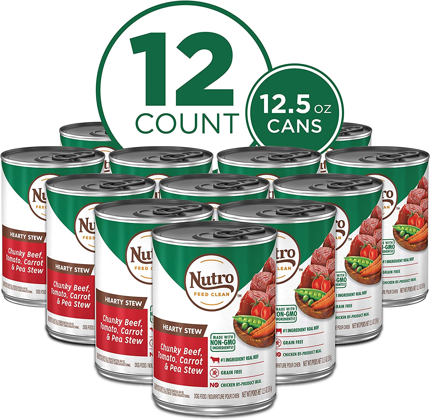 NUTRO HEARTY STEW Adult High Protein Natural Wet Dog Food Cuts in Gravy Chunky Beef, Tomato, Carrot & Pea Stew, (12) 12.5 oz. Cans