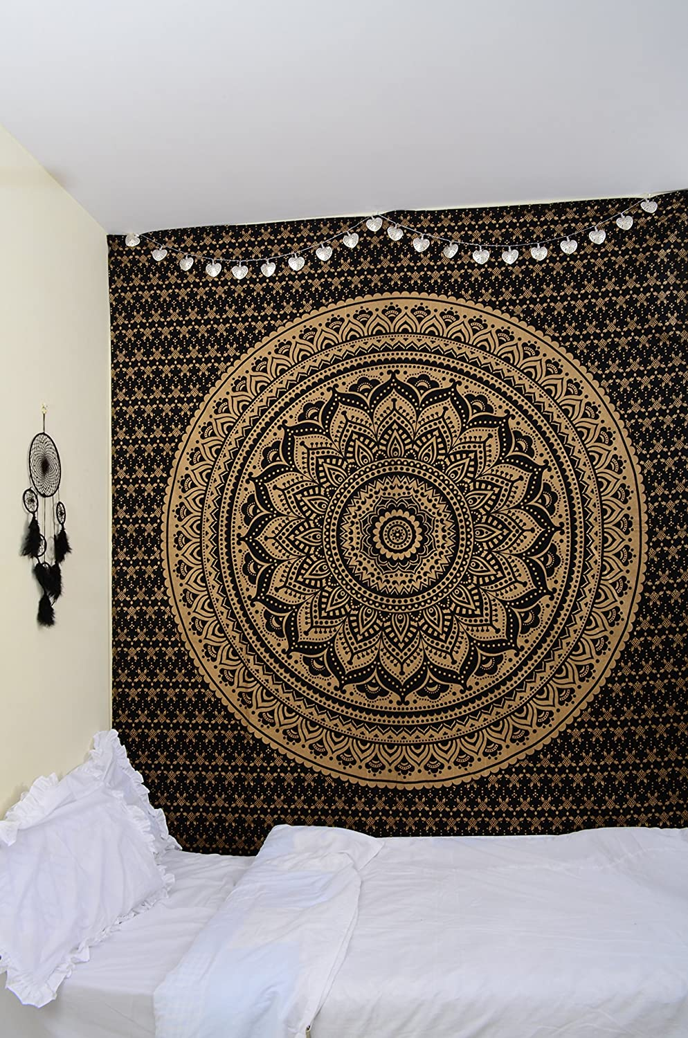 Queen Mandala Home Decor Bohemian Tapestries Hippie Wall Hanging Tapestries RawyalCrafts Original Gold and Black Ombre Tapestry Mandala Hippie Tapestry