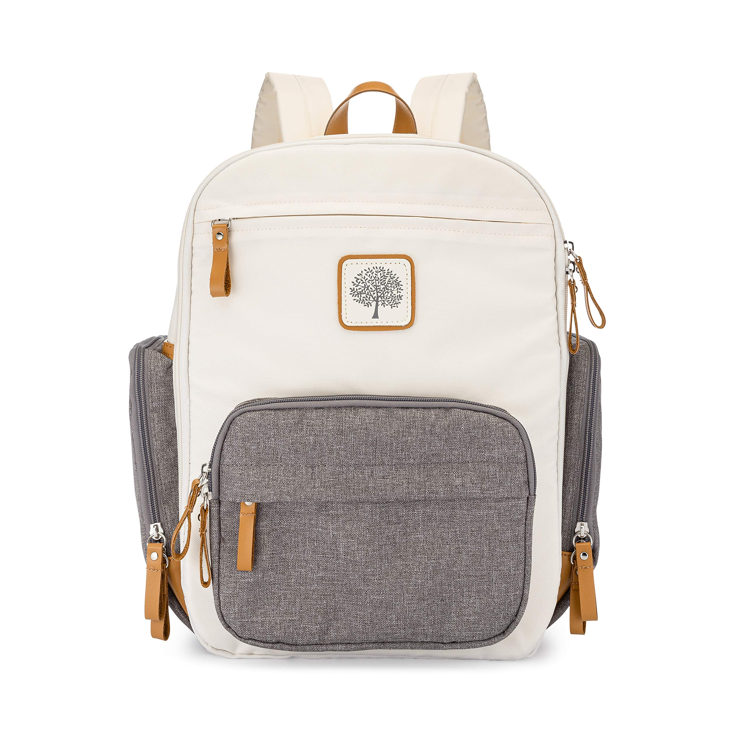 Parker Baby Diaper Backpack - Full Zip Diaper Bag with Insulated Pockets - Cream