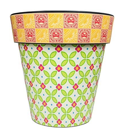 "Studio M Green Gingham 12/"" Art Planter"