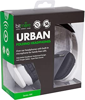 4e349de9a8cb4e Bitmore Urban Over-Ear Headphone with In Line Microphone and Detachable  Cable - White